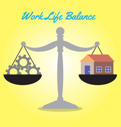 Scale of work life balance cogwheels and home vector