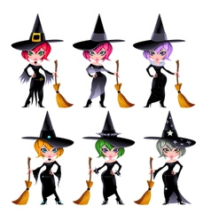 set funny witches vector image
