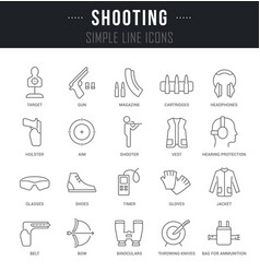 Set line icons shooting vector