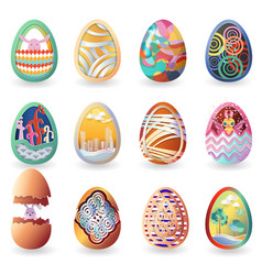 set of easter eggs with different pattern vector image