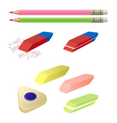 set of erasers of different color and shape two vector image