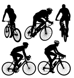 Set silhouette of a cyclist male vector