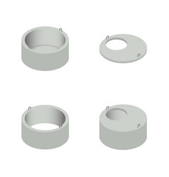 set the iron concrete rings for wells vector image