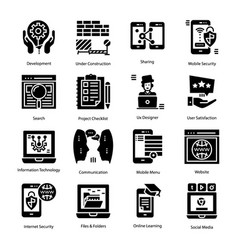 Set user interface solid icons vector