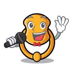 Singing elegant fashion door knocker mascot vector