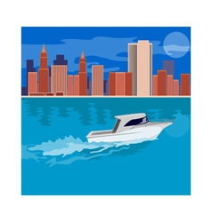 Skycrapers with Speedboat vector