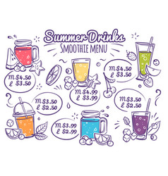 smoothie menu fruit drinks colorful organic vector image