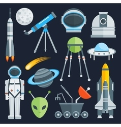 Space Decorative Flat Icons Set vector image