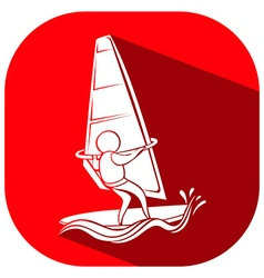 Sport icon design for sailing on square tag vector