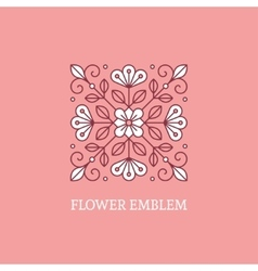 Square floral logo template vector image