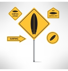 Surfing board road signs set vector image