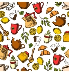 Tea drinks seamless pattern with cups and leaves vector image