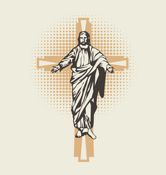 The risen jesus christ and the cross vector