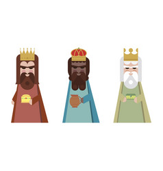 three wisemen cartoons icon epiphany day holy vector image