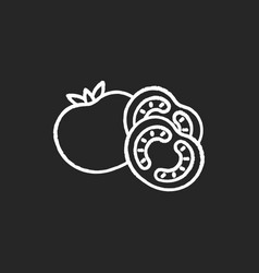 Tomato chalk white icon on black background vector