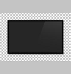 Tv screen led television monitor on wall black vector