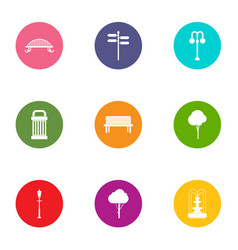 Undergrowth icons set flat style vector