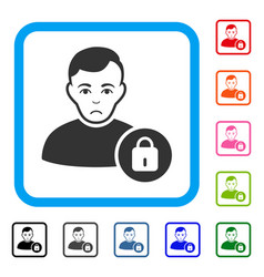 User lock framed sadly icon vector