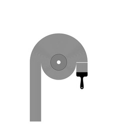 vinyl record with brush and lines vector image