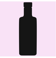 vodka glass bottle silhouette vector image