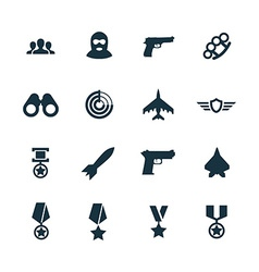 war icons set vector image