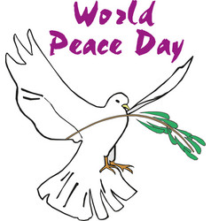 word peace day card hand written lettering with vector image