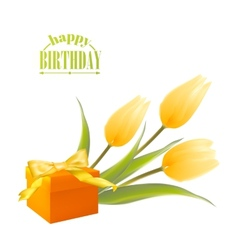 Yelllow tulips and gift box vector