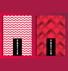 zigzags on red background poster set fashion vector image