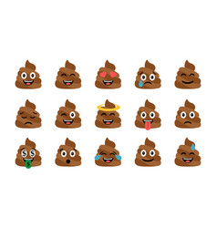 cute funny poop set emotional shit icons vector image