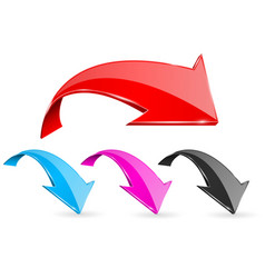 down bent colored arrows web 3d shiny icons vector image