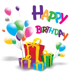 Happy birthday with Multicolored gift box on white vector image vector image