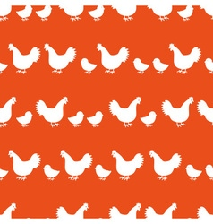 hens and chickens silhouette in lines color vector image