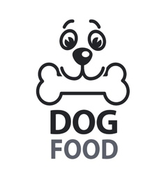 Pet food logo with dog icon concept of veterinary vector image