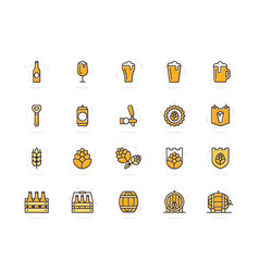 set of beer and bar pub colored line icons vector image