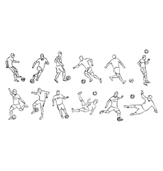 contour silhouettes of football players vector image