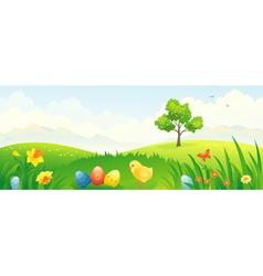 Easter chicken banner vector image