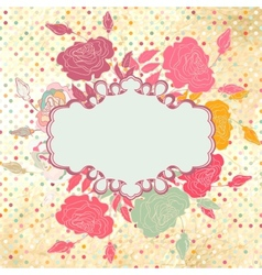 Greeting retro with frame and polka dots EPS 8 vector image