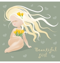 Beautiful girl with flowers vector image vector image