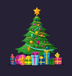 christmas tree with bulbs gifts and xmas balls vector image vector image