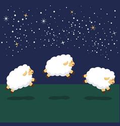 counting jump sheep at night background vector image