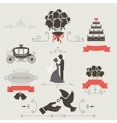 Set of vintage elements for wedding invitation vector image