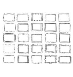 Simple doodle sketch square frames vector image vector image