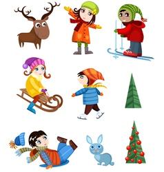 winter set vector image vector image