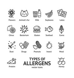 allergens signs black thin line icon set vector image vector image