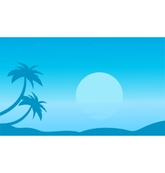 Beach with palm landscape of silhouettes vector image vector image