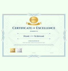 Certificate of appreciation template with gold vector