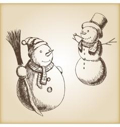 Christmas hand drawn - snowman vector image vector image