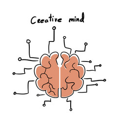 circuit style with brain model vector image vector image