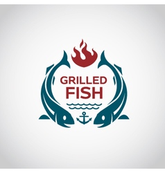 fish barbecue icon vector image vector image
