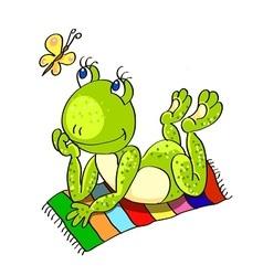 Frog on the beach towel vector